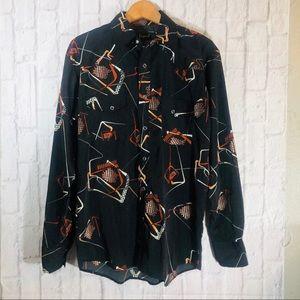 Vintage Liquid West Disco Western Snap Dress Shirt